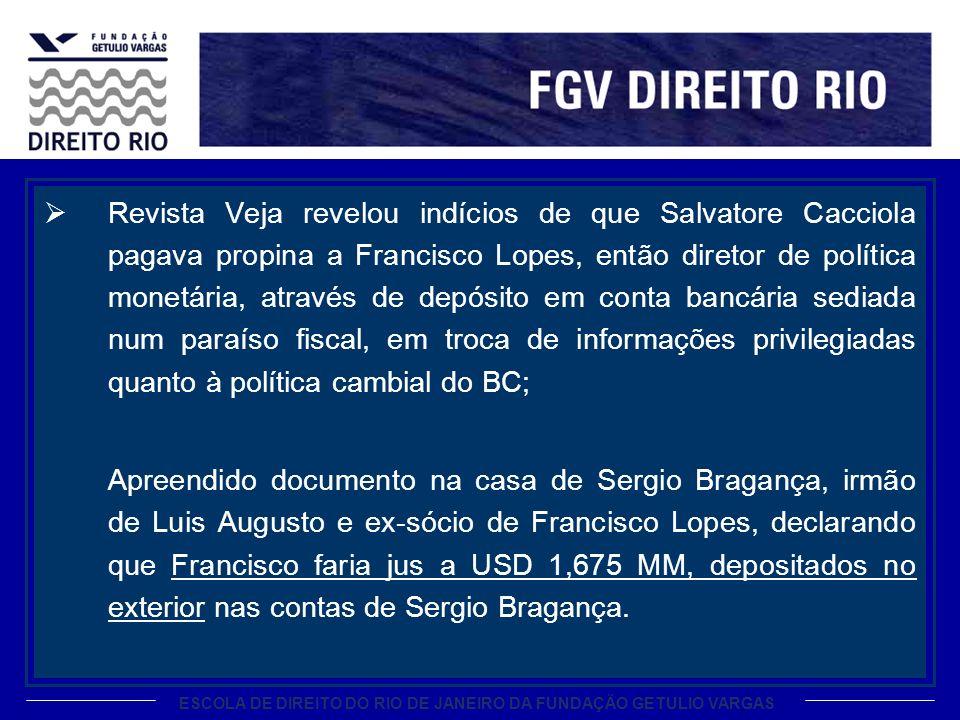 ESCOLA DE DIREITO DO RIO DE JANEIRO DA FUNDAÇÃO GETULIO VARGAS Revista Veja revelou indícios de que Salvatore Cacciola pagava propina a Francisco Lope