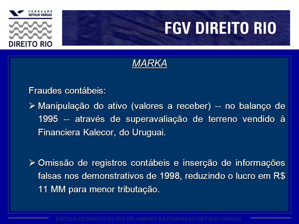 ESCOLA DE DIREITO DO RIO DE JANEIRO DA FUNDAÇÃO GETULIO VARGAS MARKA Fraudes contábeis: Manipulação do ativo (valores a receber) -- no balanço de 1995
