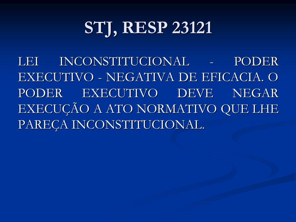 STJ, RESP 23121 LEI INCONSTITUCIONAL - PODER EXECUTIVO - NEGATIVA DE EFICACIA. O PODER EXECUTIVO DEVE NEGAR EXECUÇÃO A ATO NORMATIVO QUE LHE PAREÇA IN