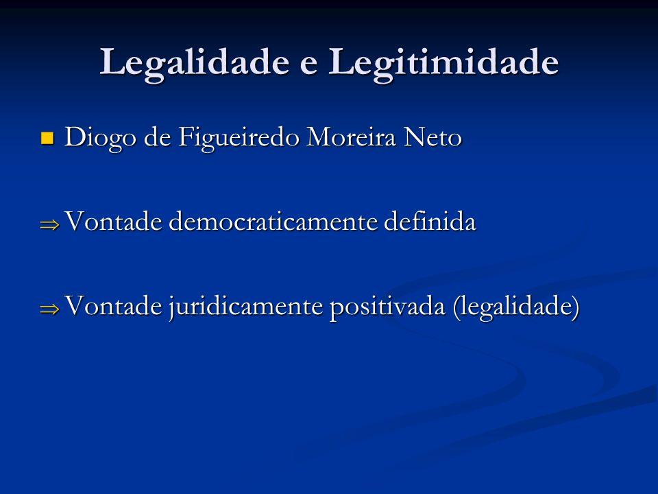 Legalidade e Legitimidade Diogo de Figueiredo Moreira Neto Diogo de Figueiredo Moreira Neto Vontade democraticamente definida Vontade democraticamente