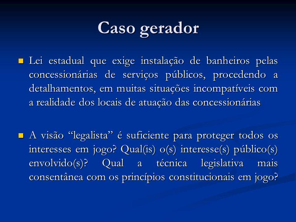 Caso gerador Lei estadual que exige instalação de banheiros pelas concessionárias de serviços públicos, procedendo a detalhamentos, em muitas situaçõe