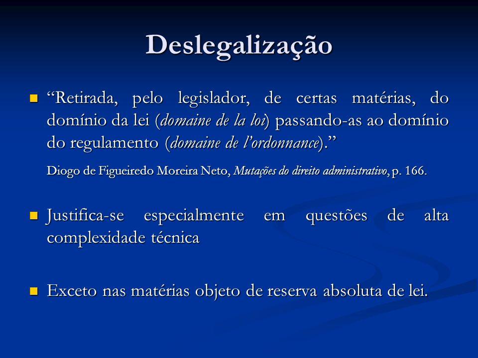 Deslegalização Retirada, pelo legislador, de certas matérias, do domínio da lei (domaine de la loi) passando-as ao domínio do regulamento (domaine de