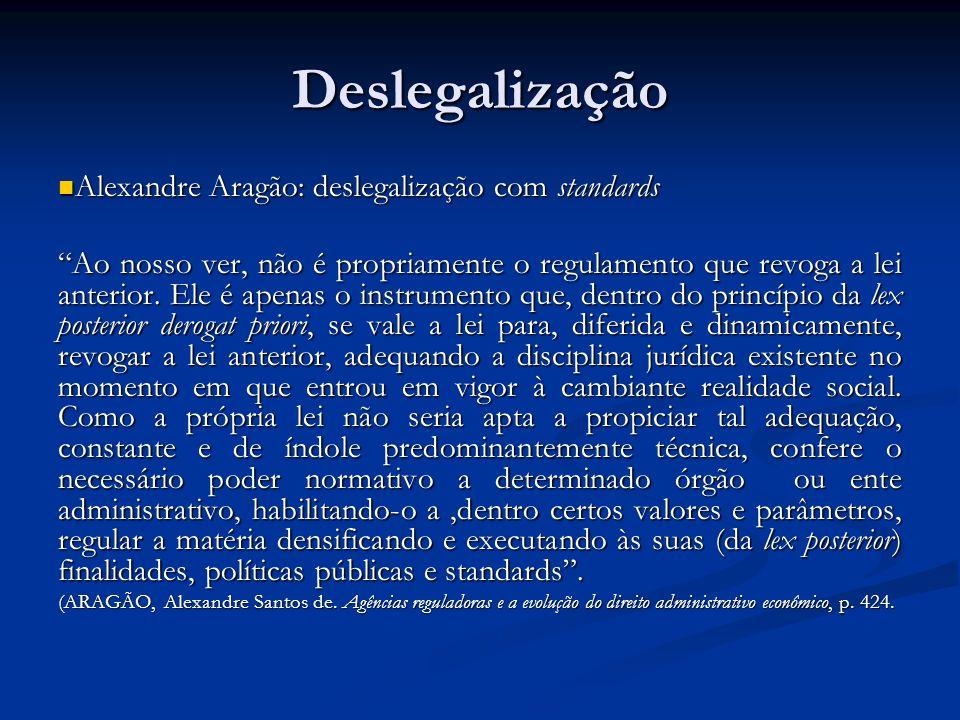 Deslegalização Alexandre Aragão: deslegalização com standards Alexandre Aragão: deslegalização com standards Ao nosso ver, não é propriamente o regula