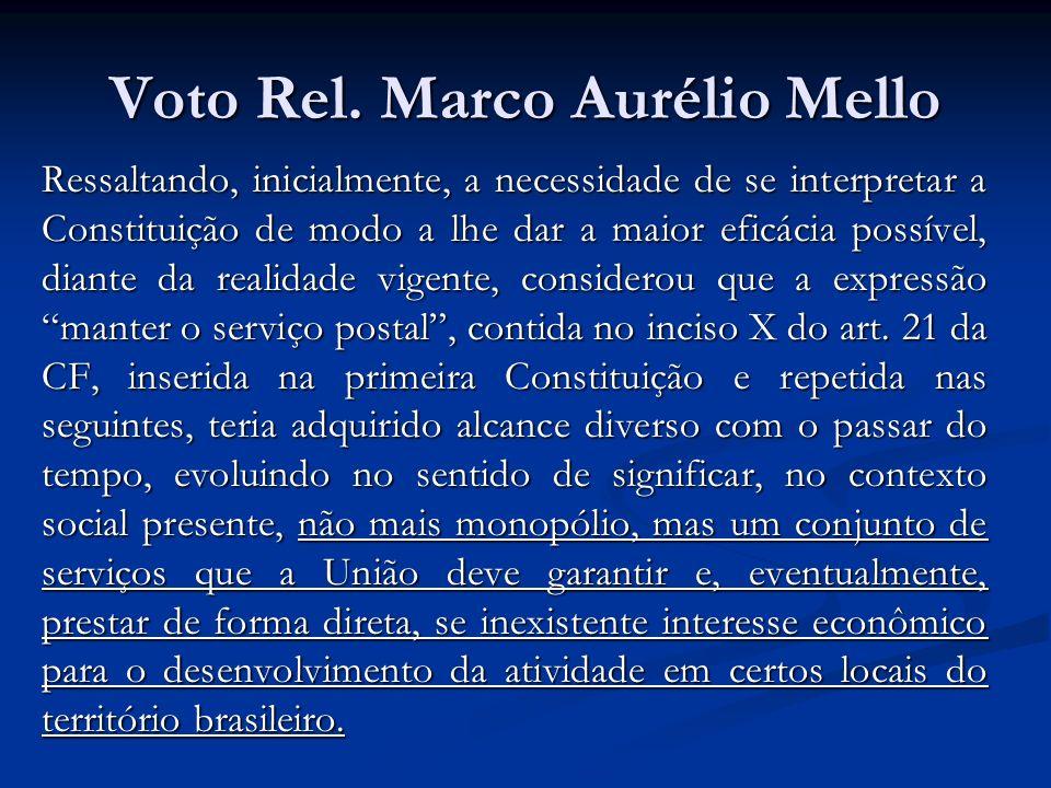 Voto Rel. Marco Aurélio Mello Ressaltando, inicialmente, a necessidade de se interpretar a Constituição de modo a lhe dar a maior eficácia possível, d
