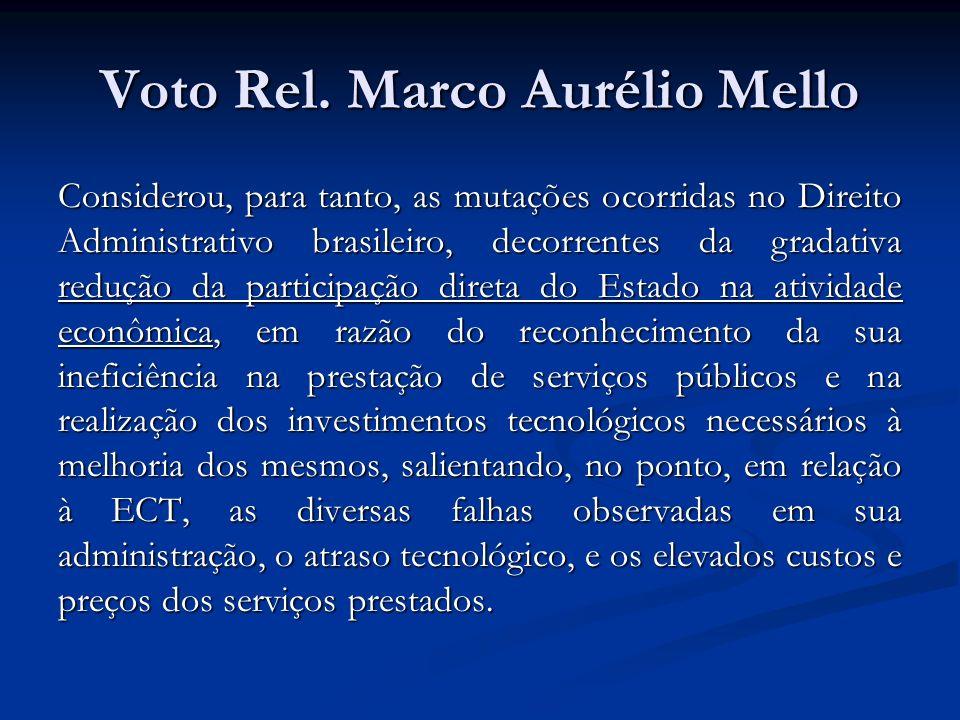 Voto Rel. Marco Aurélio Mello Considerou, para tanto, as mutações ocorridas no Direito Administrativo brasileiro, decorrentes da gradativa redução da