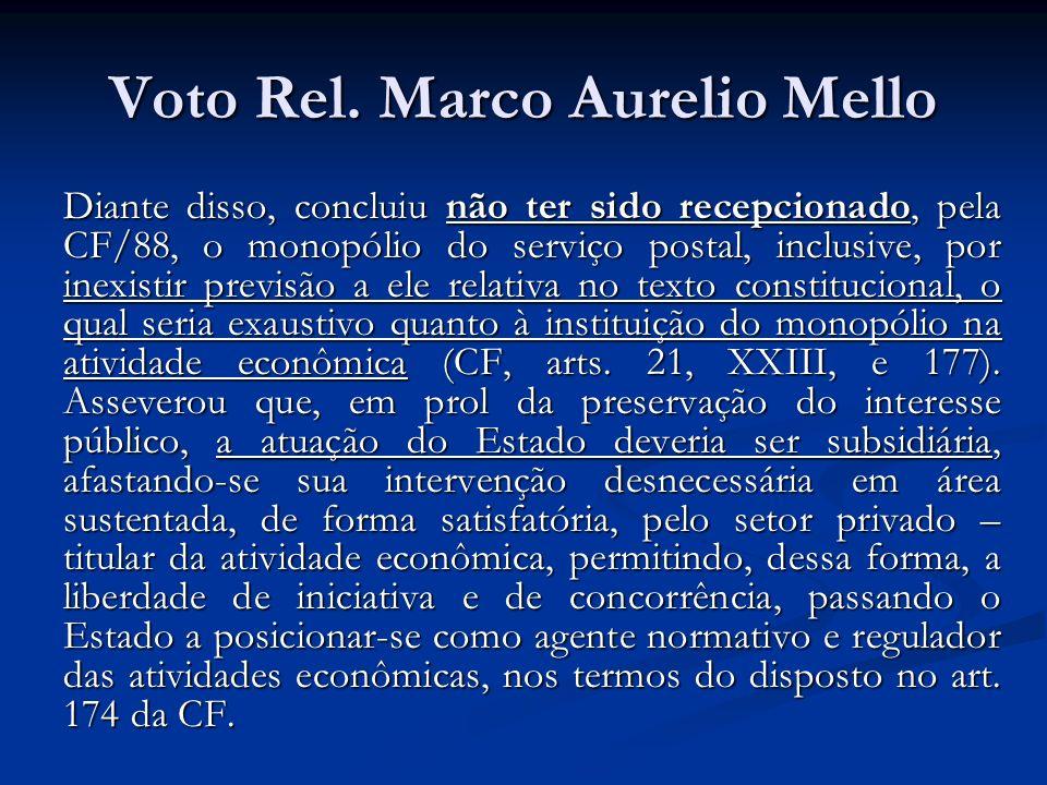 Voto Rel. Marco Aurelio Mello Diante disso, concluiu não ter sido recepcionado, pela CF/88, o monopólio do serviço postal, inclusive, por inexistir pr