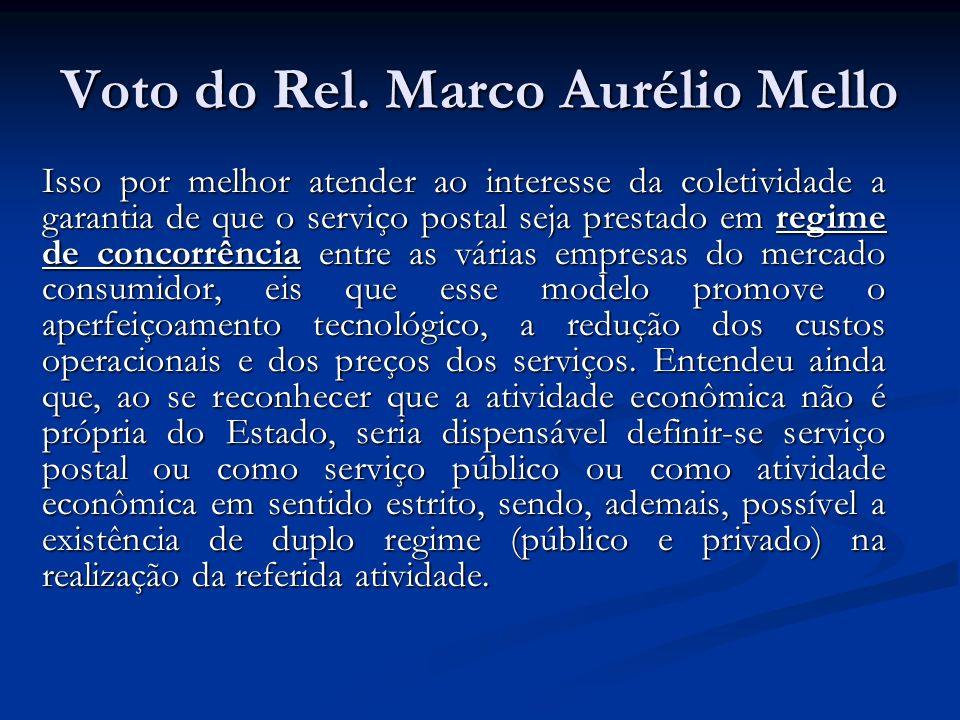 Voto do Rel. Marco Aurélio Mello Isso por melhor atender ao interesse da coletividade a garantia de que o serviço postal seja prestado em regime de co