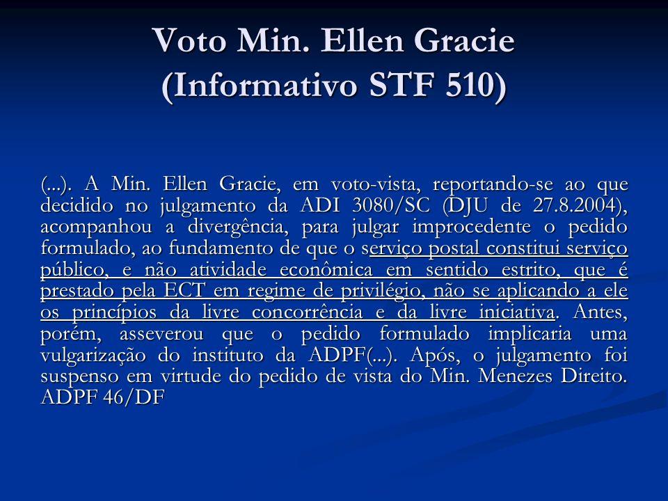 Voto Min. Ellen Gracie (Informativo STF 510) (...). A Min. Ellen Gracie, em voto-vista, reportando-se ao que decidido no julgamento da ADI 3080/SC (DJ