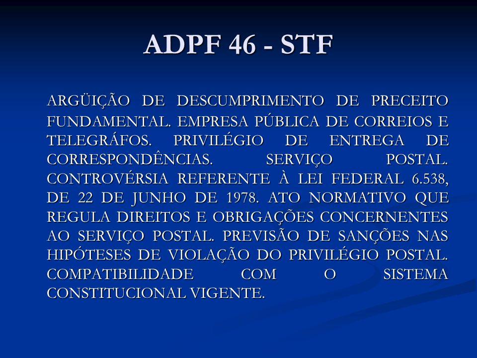 ADPF 46 - STF ARGÜIÇÃO DE DESCUMPRIMENTO DE PRECEITO FUNDAMENTAL. EMPRESA PÚBLICA DE CORREIOS E TELEGRÁFOS. PRIVILÉGIO DE ENTREGA DE CORRESPONDÊNCIAS.