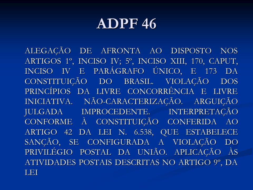 ADPF 46 ALEGAÇÃO DE AFRONTA AO DISPOSTO NOS ARTIGOS 1º, INCISO IV; 5º, INCISO XIII, 170, CAPUT, INCISO IV E PARÁGRAFO ÚNICO, E 173 DA CONSTITUIÇÃO DO