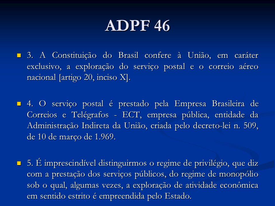ADPF 46 3. A Constituição do Brasil confere à União, em caráter exclusivo, a exploração do serviço postal e o correio aéreo nacional [artigo 20, incis