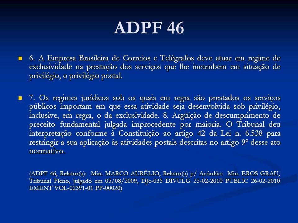 ADPF 46 6. A Empresa Brasileira de Correios e Telégrafos deve atuar em regime de exclusividade na prestação dos serviços que lhe incumbem em situação