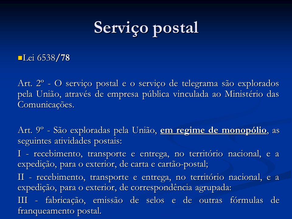Serviço postal Lei 6538/78 Lei 6538/78 Art. 2º - O serviço postal e o serviço de telegrama são explorados pela União, através de empresa pública vincu