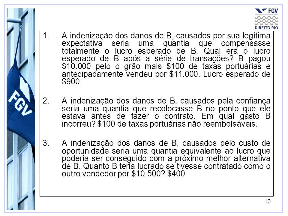 13 1.A indenização dos danos de B, causados por sua legítima expectativa seria uma quantia que compensasse totalmente o lucro esperado de B. Qual era