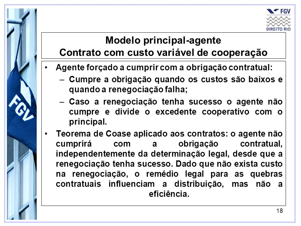 18 Modelo principal-agente Contrato com custo variável de cooperação Agente forçado a cumprir com a obrigação contratual: –Cumpre a obrigação quando o