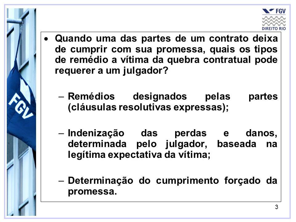 3 Quando uma das partes de um contrato deixa de cumprir com sua promessa, quais os tipos de remédio a vítima da quebra contratual pode requerer a um j
