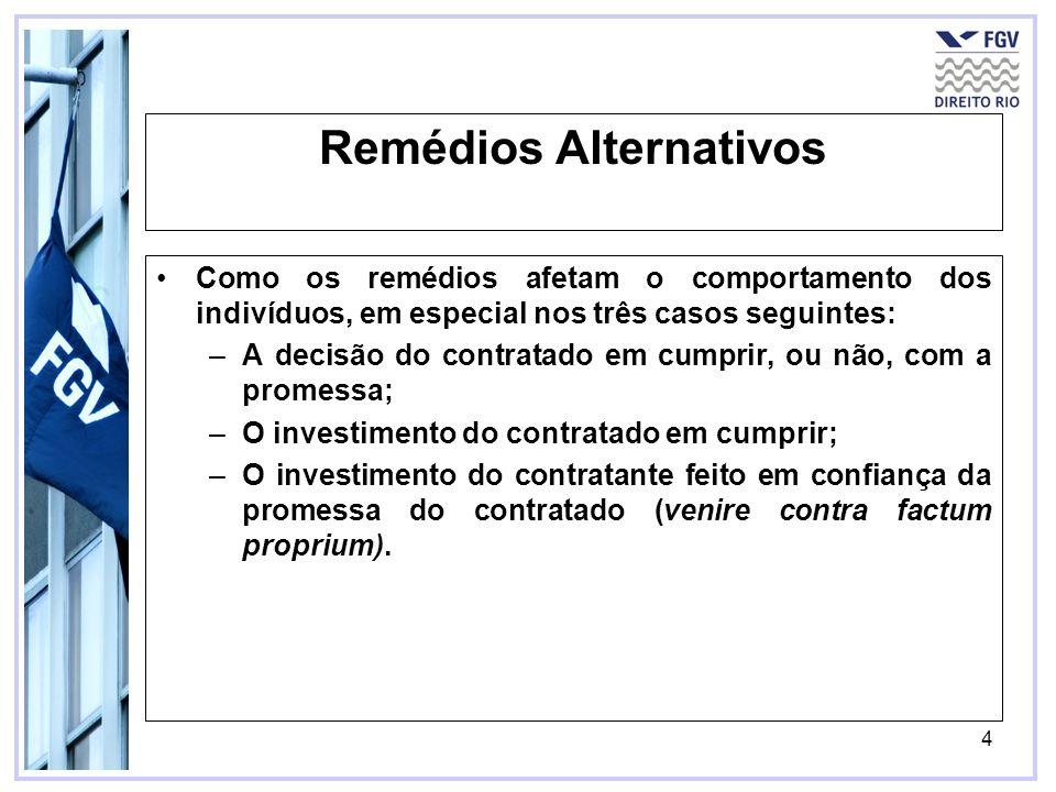 4 Remédios Alternativos Como os remédios afetam o comportamento dos indivíduos, em especial nos três casos seguintes: –A decisão do contratado em cump