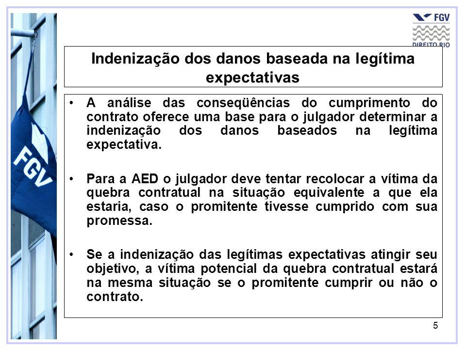 5 Indenização dos danos baseada na legítima expectativas A análise das conseqüências do cumprimento do contrato oferece uma base para o julgador deter