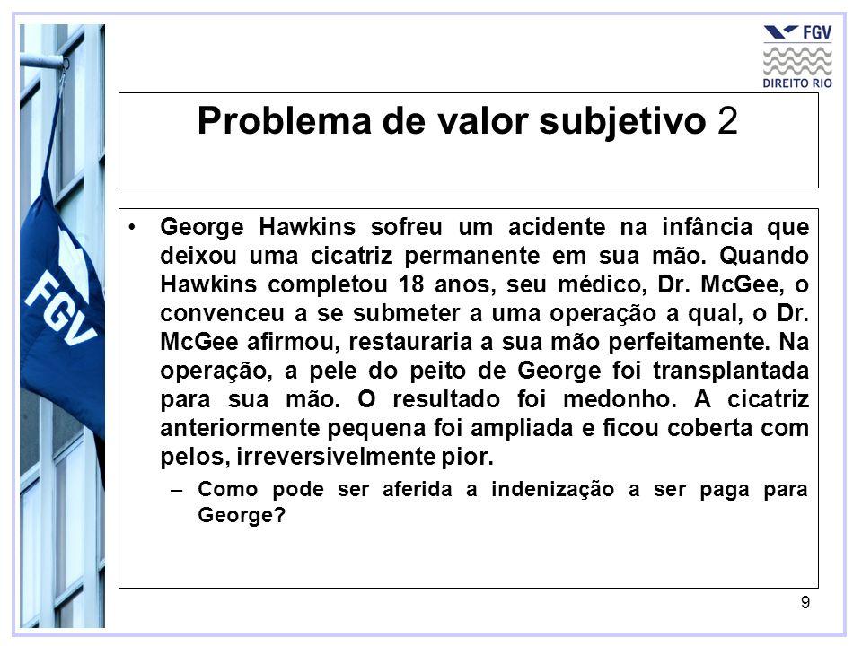 9 Problema de valor subjetivo 2 George Hawkins sofreu um acidente na infância que deixou uma cicatriz permanente em sua mão. Quando Hawkins completou