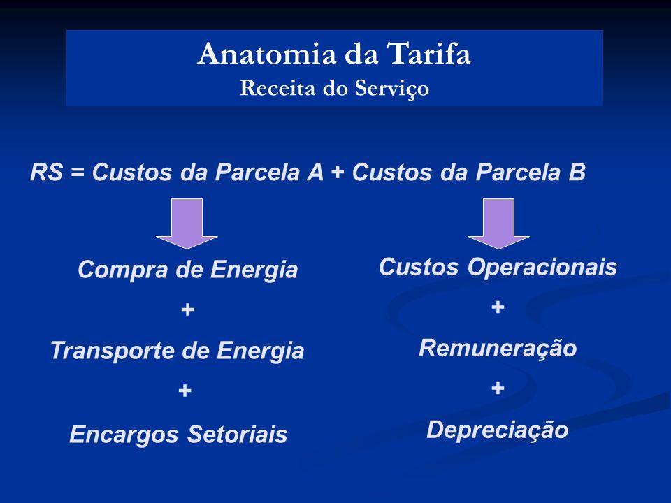 Anatomia da Tarifa Receita do Serviço RS = Custos da Parcela A + Custos da Parcela B Custos Operacionais + Remuneração + Depreciação Compra de Energia