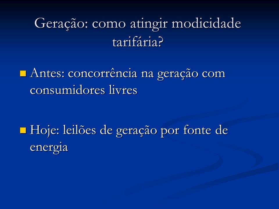 Geração: como atingir modicidade tarifária? Antes: concorrência na geração com consumidores livres Antes: concorrência na geração com consumidores liv