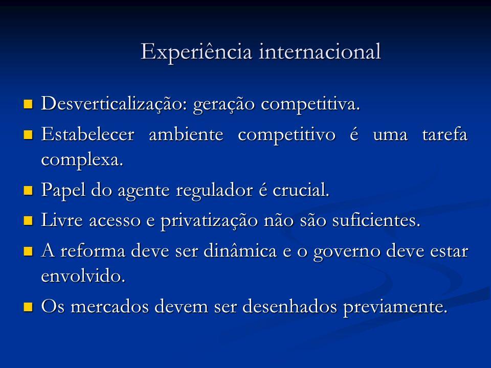 Experiência internacional Desverticalização: geração competitiva. Desverticalização: geração competitiva. Estabelecer ambiente competitivo é uma taref