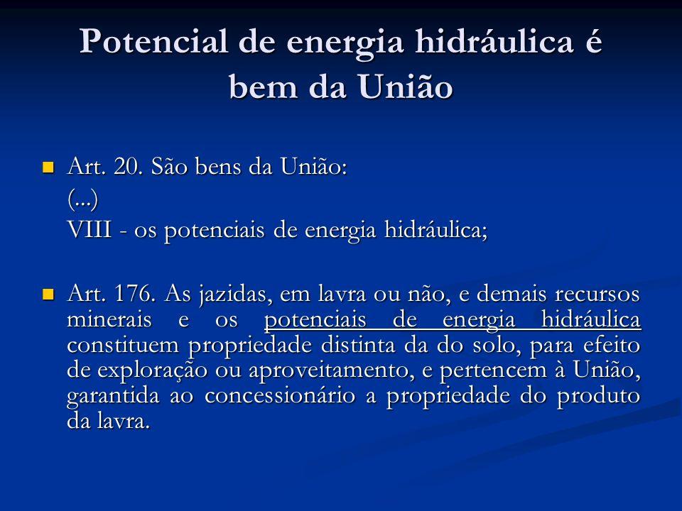 Potencial de energia hidráulica é bem da União Art. 20. São bens da União: Art. 20. São bens da União:(...) VIII - os potenciais de energia hidráulica