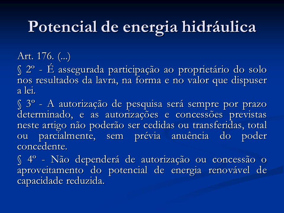 Potencial de energia hidráulica Art. 176. (...) § 2º - É assegurada participação ao proprietário do solo nos resultados da lavra, na forma e no valor