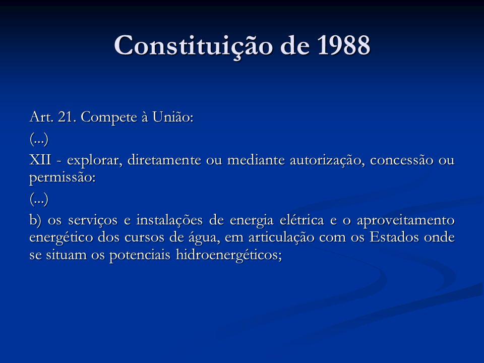 Constituição de 1988 Art. 21. Compete à União: (...) XII - explorar, diretamente ou mediante autorização, concessão ou permissão: (...) b) os serviços