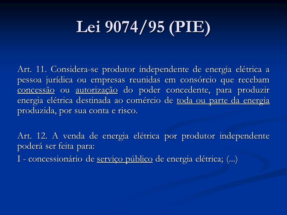 Lei 9074/95 (PIE) Art. 11. Considera-se produtor independente de energia elétrica a pessoa jurídica ou empresas reunidas em consórcio que recebam conc