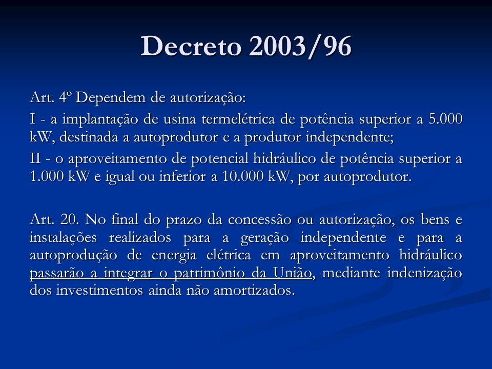 Decreto 2003/96 Art. 4º Dependem de autorização: I - a implantação de usina termelétrica de potência superior a 5.000 kW, destinada a autoprodutor e a