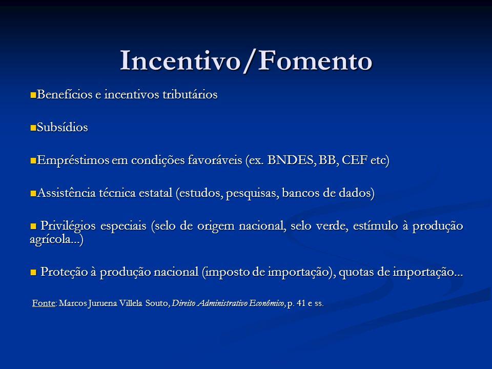 Incentivo/Fomento Benefícios e incentivos tributários Benefícios e incentivos tributários Subsídios Subsídios Empréstimos em condições favoráveis (ex.