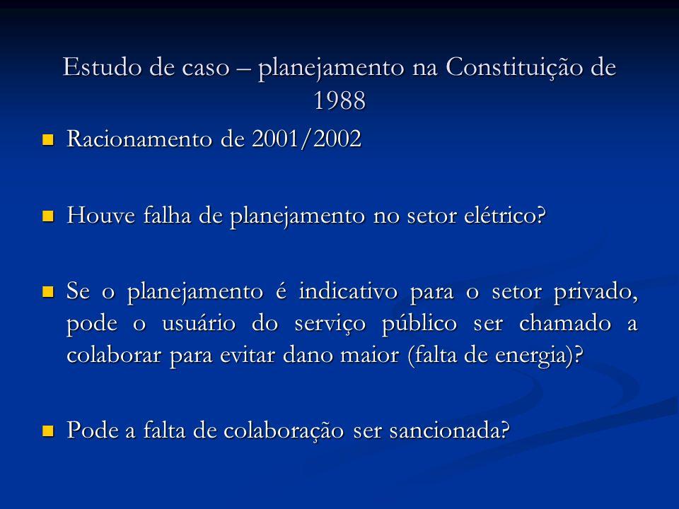 Estudo de caso – planejamento na Constituição de 1988 Racionamento de 2001/2002 Racionamento de 2001/2002 Houve falha de planejamento no setor elétrico.