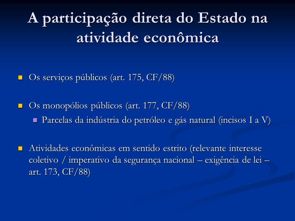 A participação direta do Estado na atividade econômica Os serviços públicos (art.