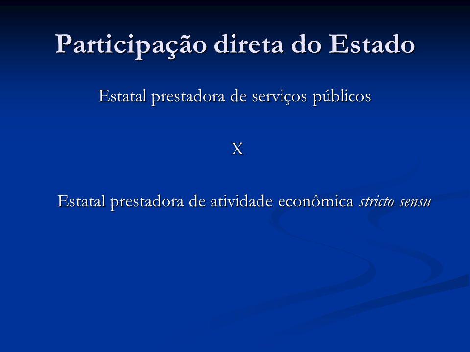 Participação direta do Estado Estatal prestadora de serviços públicos X Estatal prestadora de atividade econômica stricto sensu