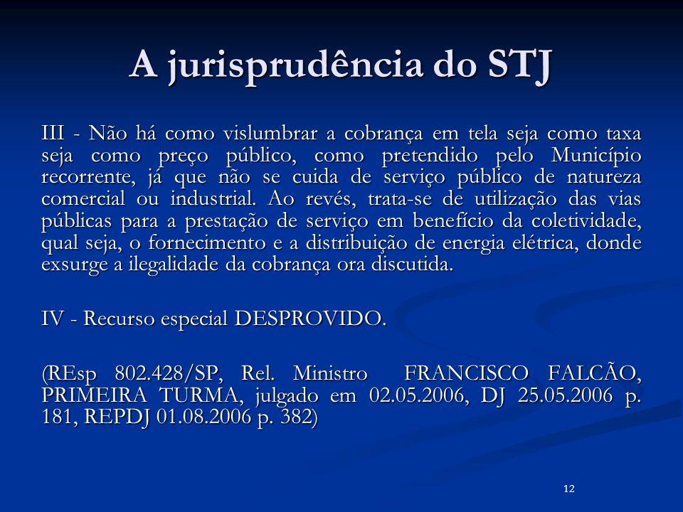 A jurisprudência do STJ III - Não há como vislumbrar a cobrança em tela seja como taxa seja como preço público, como pretendido pelo Município recorre