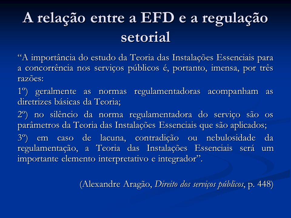 A relação entre a EFD e a regulação setorial A importância do estudo da Teoria das Instalações Essenciais para a concorrência nos serviços públicos é,