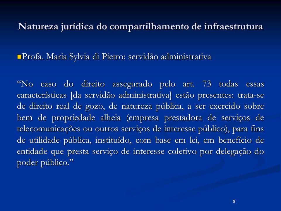 Natureza jurídica do compartilhamento de infraestrutura Profa. Maria Sylvia di Pietro: servidão administrativa Profa. Maria Sylvia di Pietro: servidão
