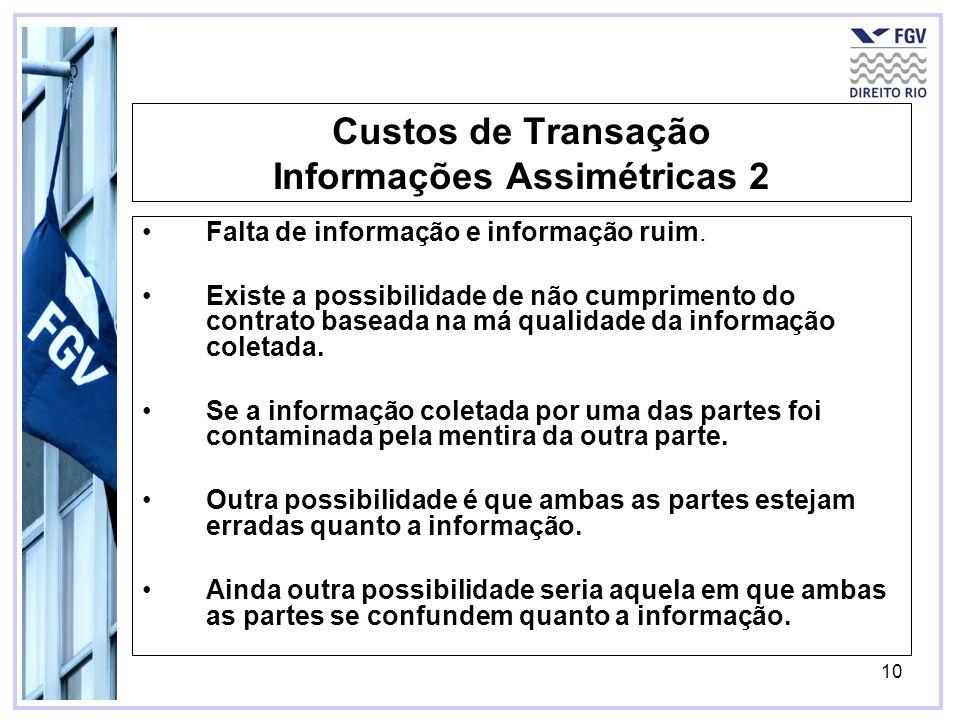 10 Custos de Transação Informações Assimétricas 2 Falta de informação e informação ruim. Existe a possibilidade de não cumprimento do contrato baseada