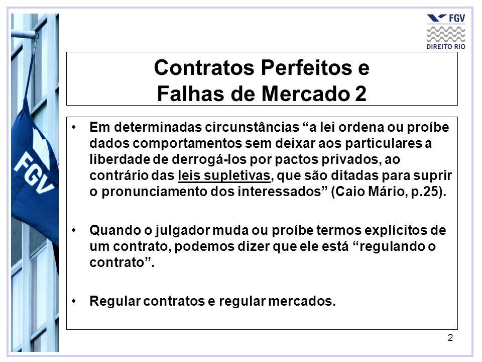 2 Contratos Perfeitos e Falhas de Mercado 2 Em determinadas circunstâncias a lei ordena ou proíbe dados comportamentos sem deixar aos particulares a l