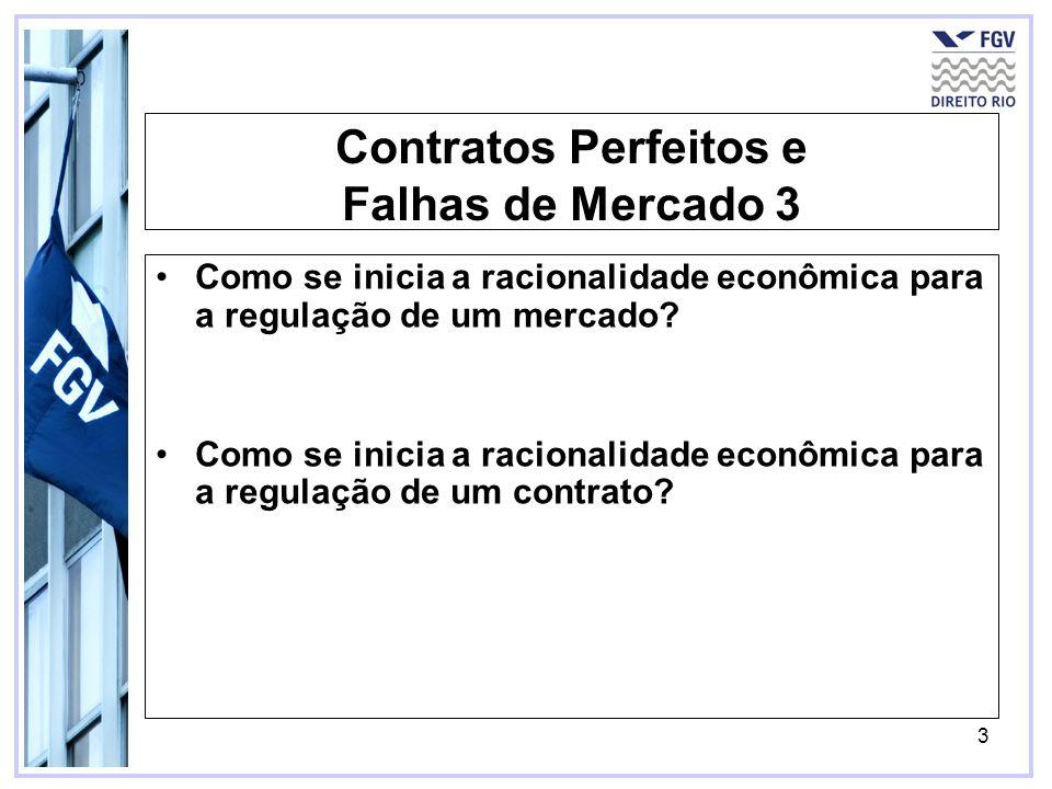 3 Contratos Perfeitos e Falhas de Mercado 3 Como se inicia a racionalidade econômica para a regulação de um mercado? Como se inicia a racionalidade ec