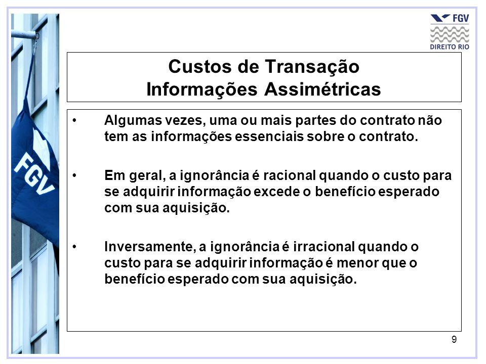9 Custos de Transação Informações Assimétricas Algumas vezes, uma ou mais partes do contrato não tem as informações essenciais sobre o contrato. Em ge