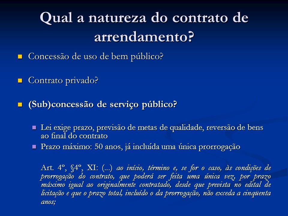 Qual a natureza do contrato de arrendamento? Concessão de uso de bem público? Concessão de uso de bem público? Contrato privado? Contrato privado? (Su