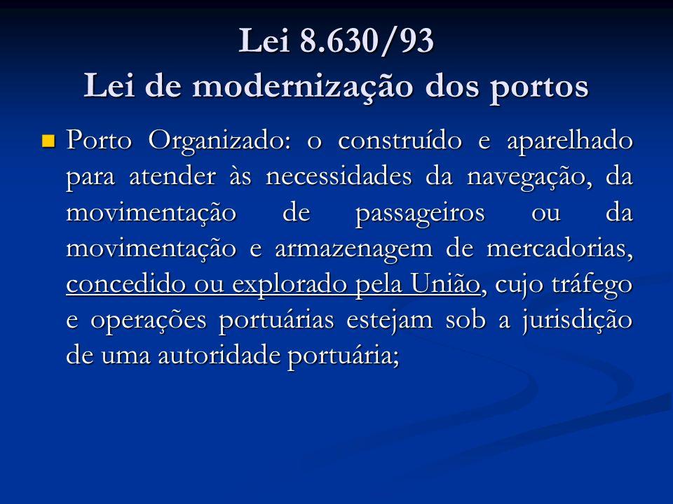 Lei 8.630/93 Lei de modernização dos portos Porto Organizado: o construído e aparelhado para atender às necessidades da navegação, da movimentação de