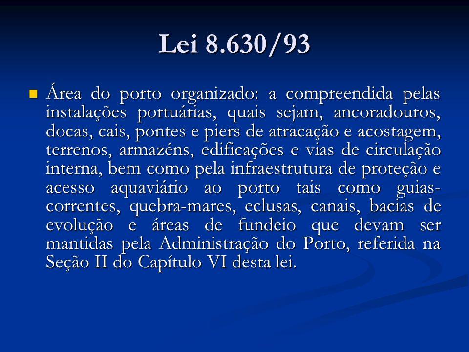 Lei 8.630/93 Área do porto organizado: a compreendida pelas instalações portuárias, quais sejam, ancoradouros, docas, cais, pontes e piers de atracaçã