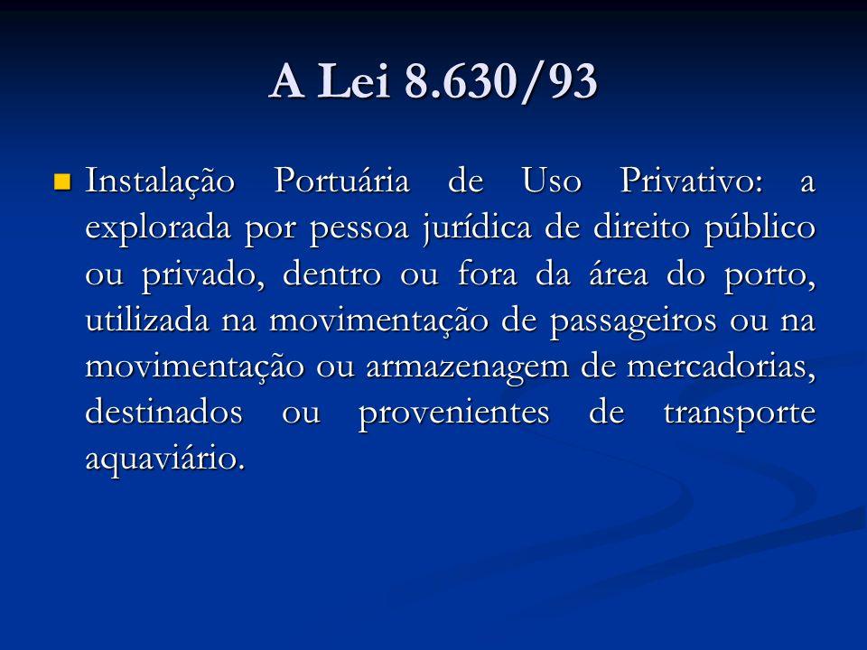 A Lei 8.630/93 Instalação Portuária de Uso Privativo: a explorada por pessoa jurídica de direito público ou privado, dentro ou fora da área do porto,