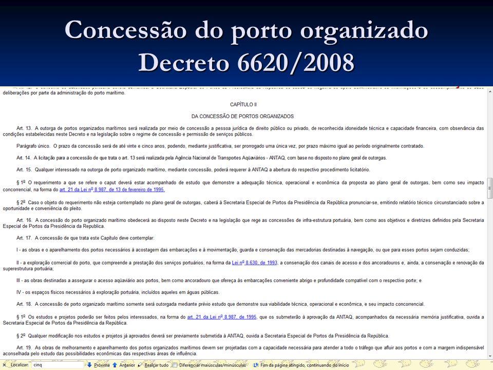 Concessão do porto organizado Decreto 6620/2008