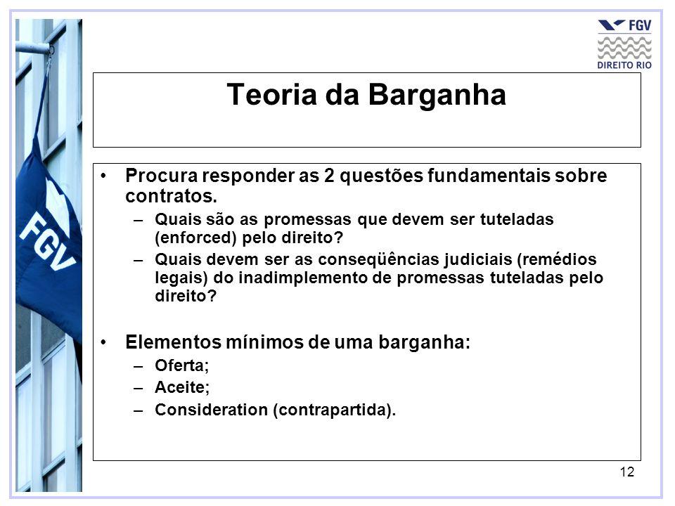 12 Teoria da Barganha Procura responder as 2 questões fundamentais sobre contratos. –Quais são as promessas que devem ser tuteladas (enforced) pelo di
