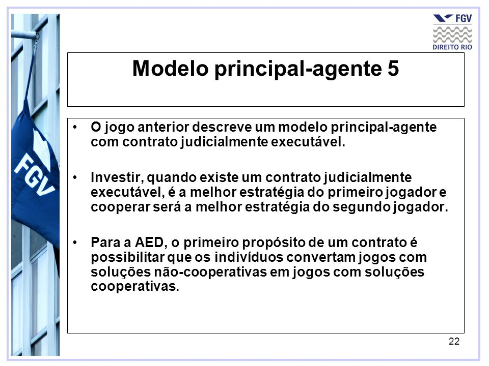 22 Modelo principal-agente 5 O jogo anterior descreve um modelo principal-agente com contrato judicialmente executável. Investir, quando existe um con