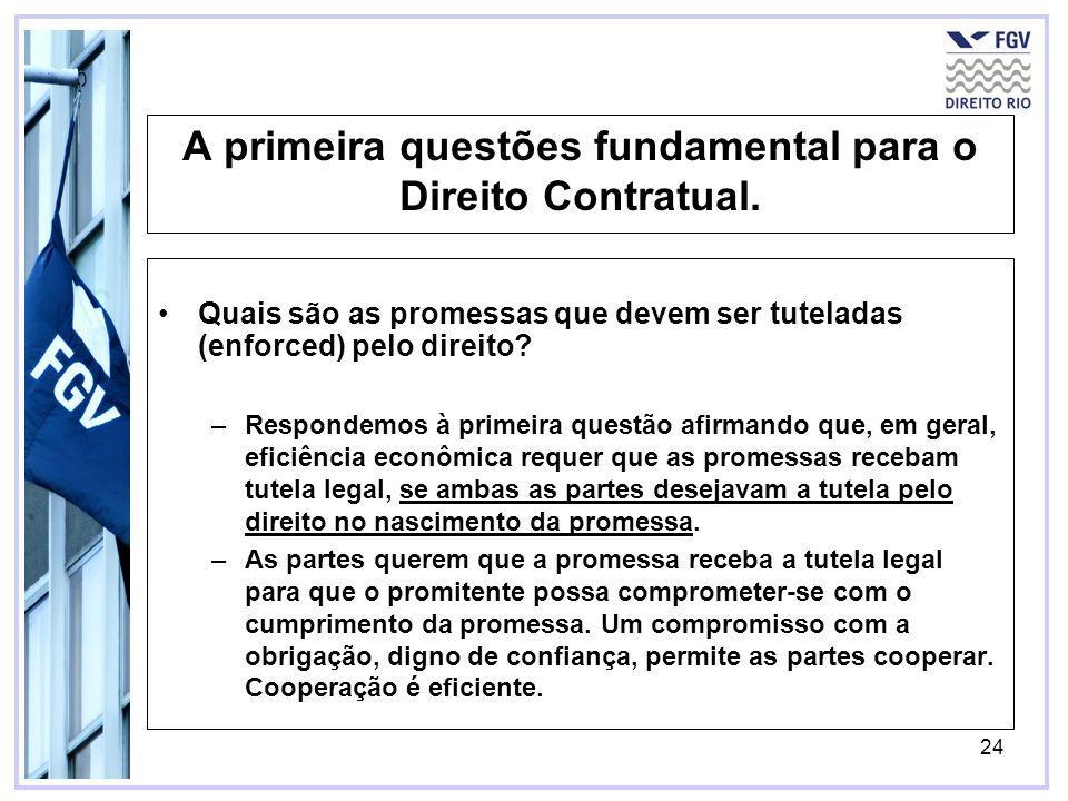 24 A primeira questões fundamental para o Direito Contratual. Quais são as promessas que devem ser tuteladas (enforced) pelo direito? –Respondemos à p